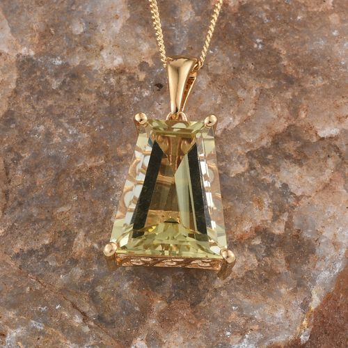 Brazilian Green Gold Quartz (Bgt) Solitaire Pendant With Chain in 14K Gold Overlay Sterling Silver 7.000 Ct.