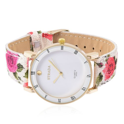 STRADA Japanese Movement Roman Numerals Watch in Gold Tone with Red and Pink Colour Floral Strap and Stainless Steel Back