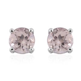9K White Gold 0.75 ct. AA Marropino Morganite Solitaire Stud Earrings