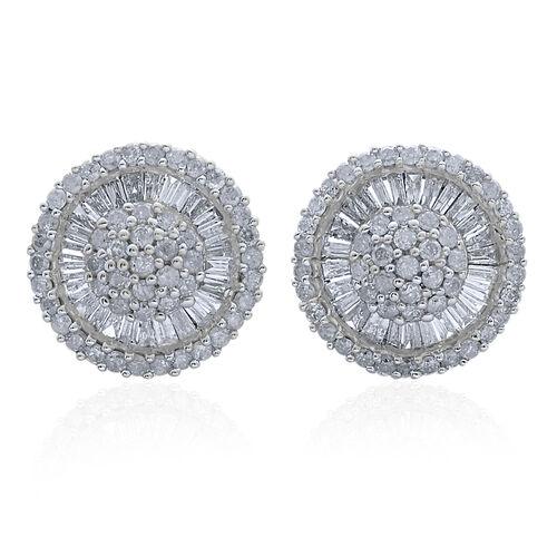 9K White Gold 1 Carat Diamond Cluster Disc Stud Earrings SGL Certified I3 G-H.