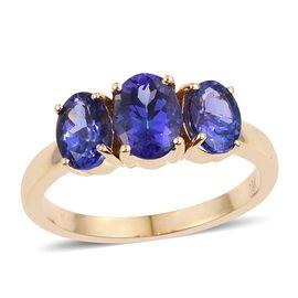 ILIANA 18K Y Gold AAA Tanzanite (Ovl 1.50 Ct) 3 Stone Ring 3.000 Ct.