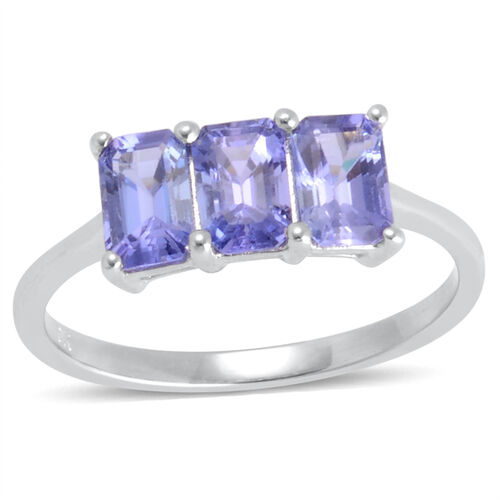 9K W Gold Tanzanite (Oct) Trilogy Ring 1.750 Ct.