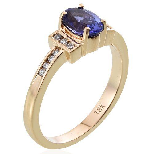 ILIANA 18K Y Gold AAA Tanzanite (Ovl 1.00 Ct), Diamond Ring 1.150 Ct.