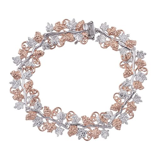Stefy Pink Sapphire (Rnd) Bracelet (Size 7.5) in Rose Gold and Platinum Overlay Sterling Silver, Silver Wt. 22.20 Gms.
