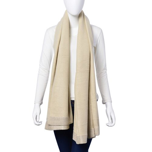 White Colour Scarf with Sequin Border (Size 180x120 Cm)