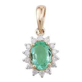 9K Yellow Gold 1 Carat Boyaca Colombian Emerald Oval Halo Pendant with Diamond.