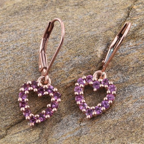 Rare Mozambique Grape Colour Garnet (Rnd) Lever Back Heart Earrings in Rose Gold Overlay Sterling Silver 1.250 Ct.