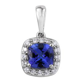 RHAPSODY 950 Platinum AAAA Tanzanite (Cush 1.00 Ct), Diamond (VS/ E-F) Halo Pendant 1.150 Ct.