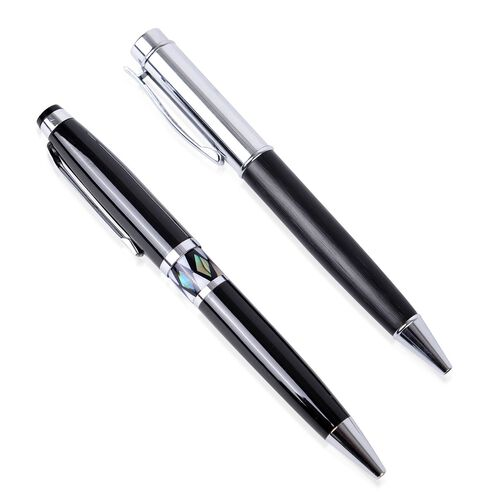 Set of 2 - Black Colour and Shell Adorned Pen (Black Ink) in a Box