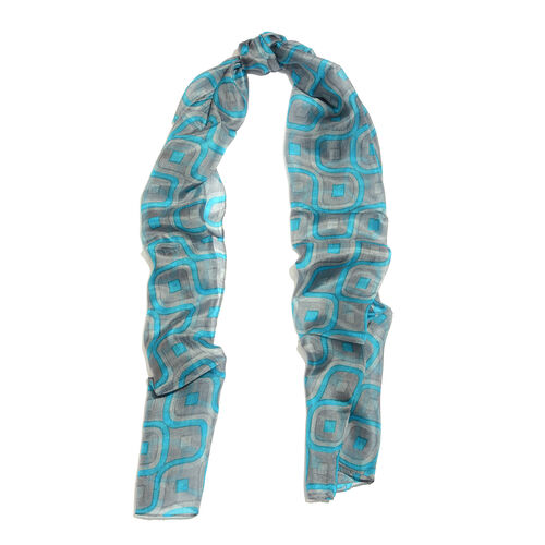 100% Mulberry Silk Art Deco Printed Blue and Grey Colour Scarf (Size 180x50 Cm)