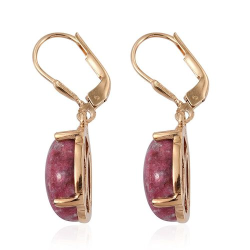 Norwegian Thulite (Ovl) Earrings in 14K Gold Overlay Sterling Silver 13.750 Ct.