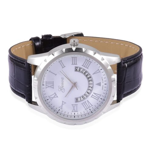 GENOA Japanese Movement White Dial Water Resistant Watch in Silver Tone with Stainless Steel Back and Black Strap