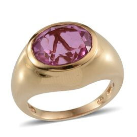 Kunzite Colour Quartz (Ovl) Solitaire Ring in 14K Gold Overlay Sterling Silver 5.750 Ct.