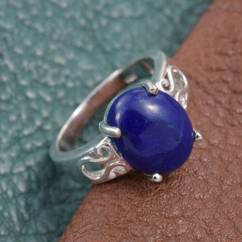 Lapis Lazuli (Ovl) Solitaire Ring in Sterling Silver 4.500 Ct.