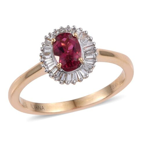 ILIANA 18K Y Gold Ouro Fino Rubelite (Ovl 0.80 Ct), Diamond Ring 1.200 Ct.