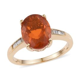 ILIANA 18K Y Gold AAA Jalisco Fire Opal (Ovl 2.15 Ct), Diamond (SI/G-H) Ring 2.250 Ct.