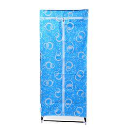 DOD - Blue Colour Floral Pattern Foldable Wardrobe (Size 150x58x45 Cm)