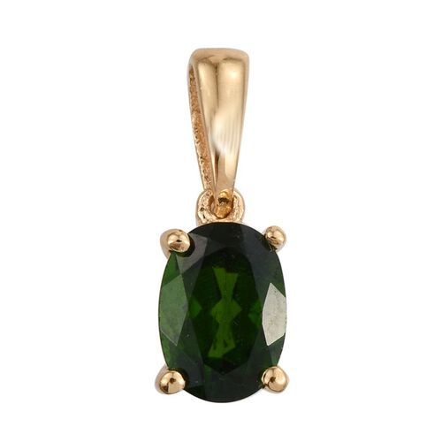 Russian Diopside (Ovl) Solitaire Pendant in 14K Gold Overlay Sterling Silver 0.750 Ct.