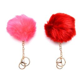Set of 2 -  Faux Fur Pink and Burgundy Colour Fluffy Pom Pom Key Chain in Gold Tone (Size 10 Cm)