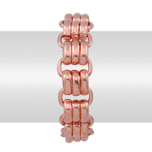 ION Plated Rose Gold Stainless Steel Bracelet (Size 7.5)