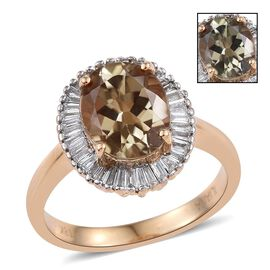 ILIANA 18K Yellow Gold Turkizite Oval 3 Carat, Diamond (SI G-H) Ring 3.50 Ct.