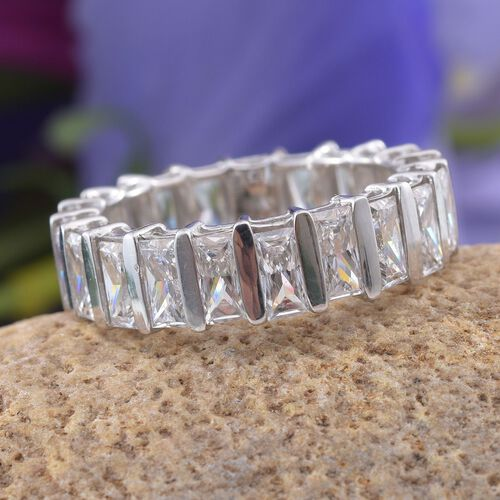 J Francis - Platinum Overlay Sterling Silver (Bgt) Full Eternity Ring Made with SWAROVSKI ZIRCONIA