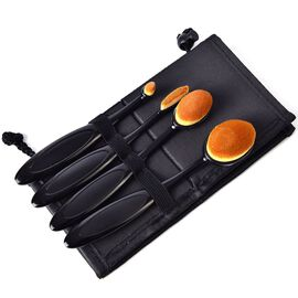 Set of 4 - Black Handle Oval Shape Makeup Brush with Bag (Size 18x10 Cm)