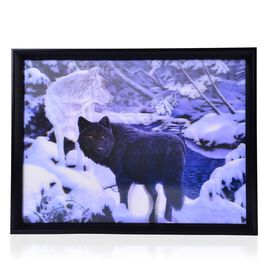 Snow Wolf Framed 3D Wall Painting (Size 41x31 Cm)