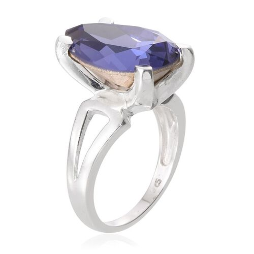 Crystal from Swarovski - Tanzanite Colour Crystal (Pear) Solitaire Ring in Sterling Silver