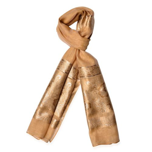 Floral and Leaves Pattern Golden Colour Scarf (Size 180x70 Cm)