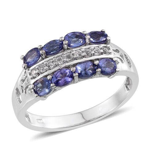 Tanzanite (Ovl), White Topaz Ring in Platinum Overlay Sterling Silver 1.750 Ct.