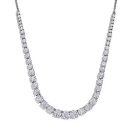 J Francis - Platinum Overlay Sterling Silver (Rnd) Necklace (Size 18) Made with SWAROVSI ZIRCONIA