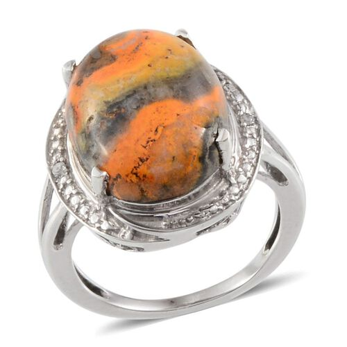 Bumble Bee Jasper (Ovl 6.50 Ct), Diamond Ring in Platinum Overlay Sterling Silver 6.510 Ct.