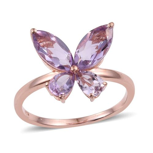 Rose De France Amethyst (Mrq) Butterfly Ring in Rose Gold Overlay Sterling Silver 2.500 Ct.