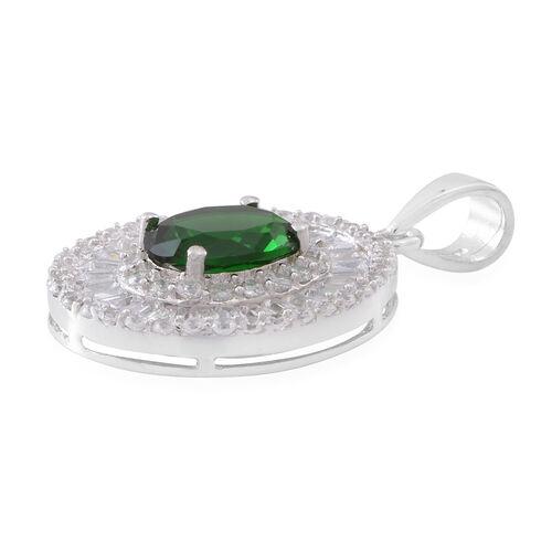 ELANZA Simulated Emerald (Ovl), Simulated White Diamond Pendant in Rhodium Plated Sterling Silver