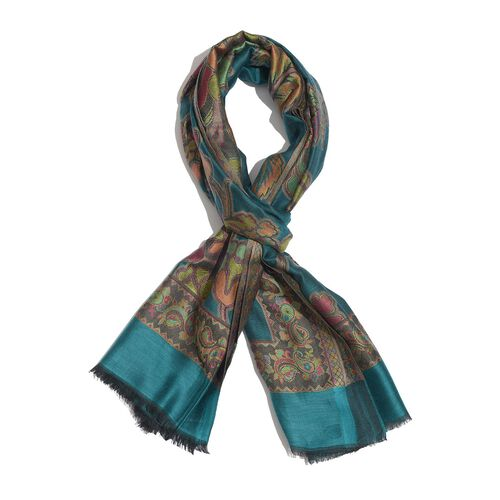 100% Modal Multi Colour Floral, Leaves and Paisley Pattern Turquoise Colour Jacquard Scarf (Size 190x70 Cm)