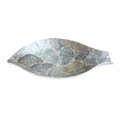 Leaf Shape Bowl Shell Inlay in White Resin (Size 34x19 Cm)