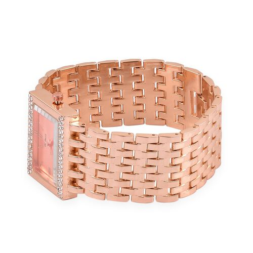 STRADA Japanese Movement Rose Gold Sunshine Dial with White Austrian Crystal Water Resistant Bracelet Watch in Rose Gold Tone with Stainless Steel Back