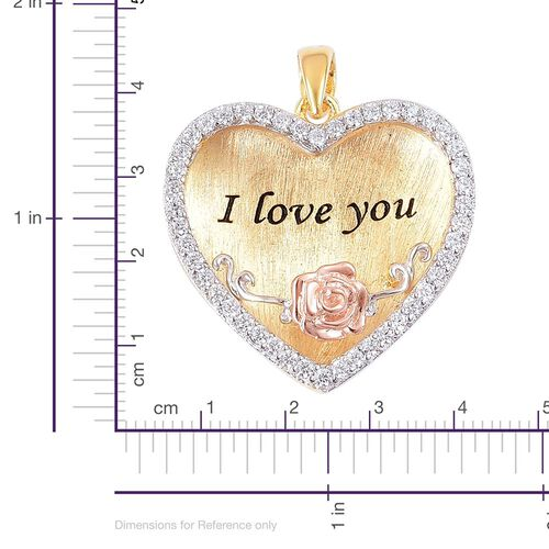 ELANZA AAA Simulated White Diamond Love Inscription Heart Pendant in Rhodium, Yellow and Rose Gold Overlay Sterling Silver
