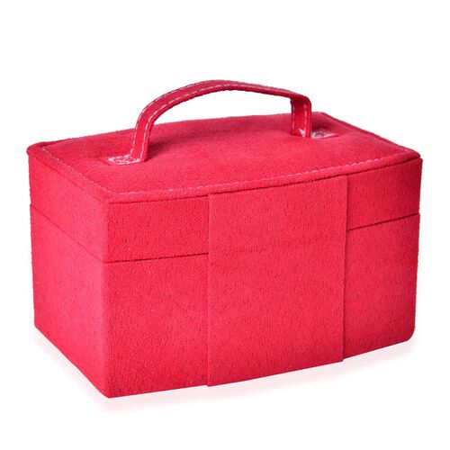 Red Colour Velvet 2 Layer Jewelley Box with Mirror Inside (Size 15.3x11x8.8 Cm)