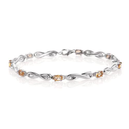 Citrine (Ovl) Bracelet (Size 7.5) in Platinum Overlay Sterling Silver 1.750 Ct.