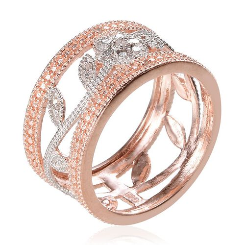 Diamond (Rnd) Floral and Leaves Band Ring in 18K Rose Gold Bond
