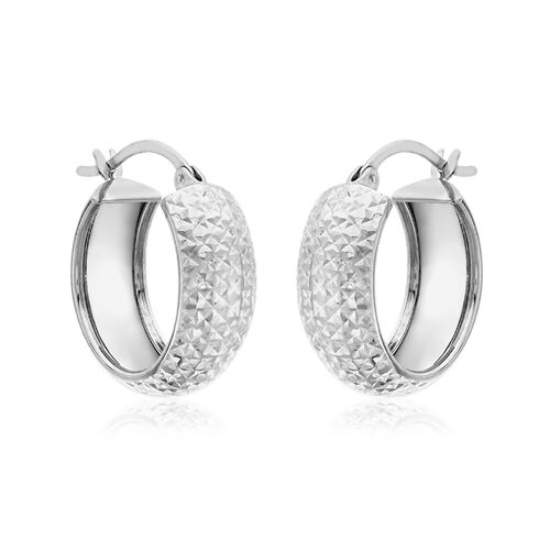Vicenza Collection 9K White Gold Diamond Cut Hoop Earrings (with Clasp)