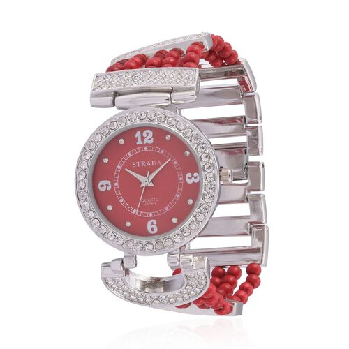 STRADA Japanese Movement Red Howlite and Austrian Crystal Studded Watch