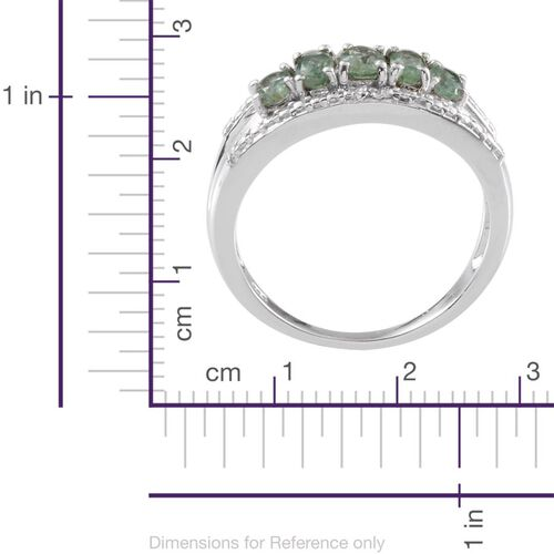 Orissa Green Kyanite (Ovl), Diamond Ring in Platinum Overlay Sterling Silver 1.410 Ct.