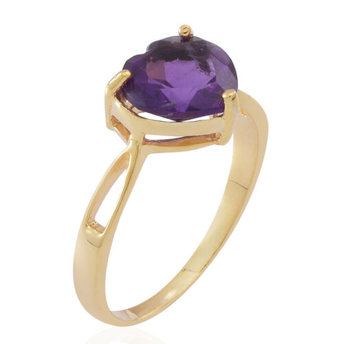 Amethyst (Hrt) Solitaire Ring in 14K Gold Overlay Sterling Silver 2.000 Ct.