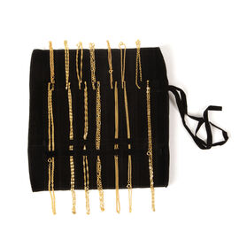 JCK Vegas Set of 14 Complete Wardrobe 18K Gold Plated Set of 7 Chain (Size 20) and Set of 7 Bracelet (Size 7.5) with Black Velvet Pouch