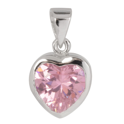 ELANZA AAA Simulated Pink Sapphire (Hrt) Solitaire Pendant in Rhodium Plated Sterling Silver