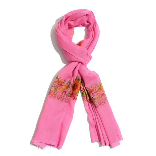 100% Merino Wool Hand Embroidered Pink Scarf (Size 70x200 Cm)
