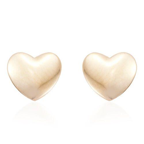 9K Yellow Gold Plain Heart Stud Earrings